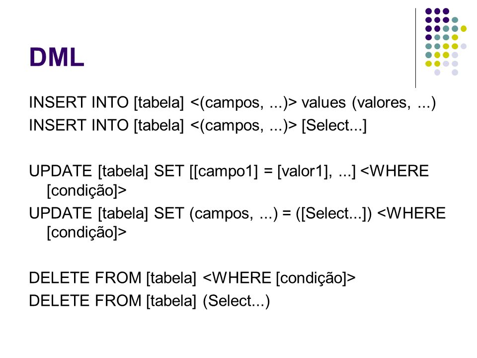 DML INSERT INTO [tabela] <(campos, ...)> values (valores, ...)